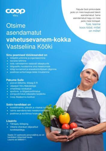 Kokk-Vahetusevanem-Vastseliina-Köök CV 1